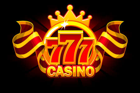 Casino banner with 777 and ribbon. Vector Objects on separate layers.