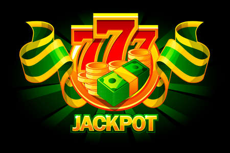 Jackpot icon with coins, money and 777. Casino awards