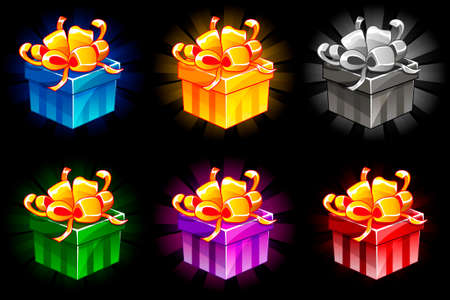 Gift box in different colors. Cartoon isometric Gifts vector bonus icons for UI game resources. Objects on separate layers.