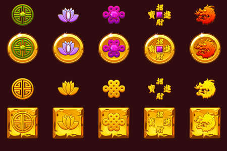China coins set. Vector Golden icons with Chinese symbols and gems.