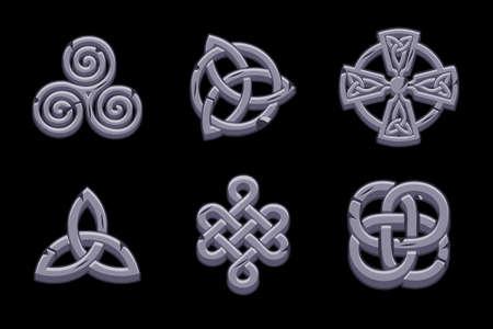 Stones celtic symbols. Cartoon set celtic icons.