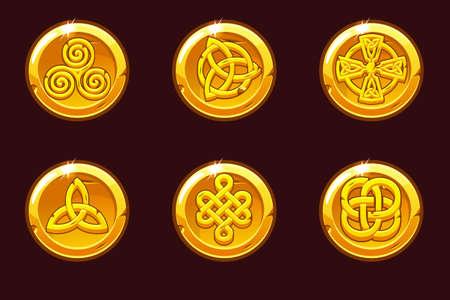 Coins with celtic symbols. Cartoon set celtic icons.
