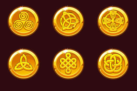 Coins with celtic symbols. Cartoon set celtic icons.