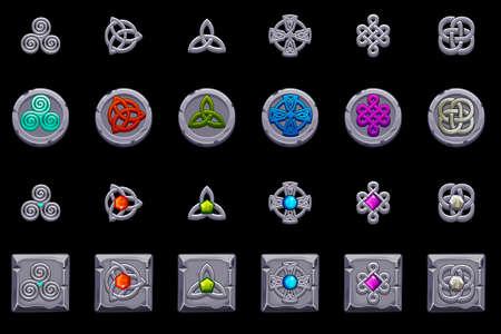 Celtic symbols. Stone coins and square with celtic symbol. Cartoon set celtic icons. Иллюстрация