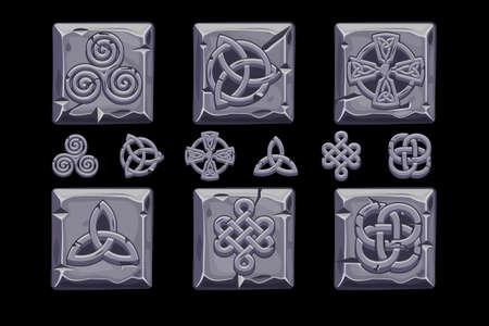 Celtic symbols. Cartoon set celtic icons on stone square Иллюстрация
