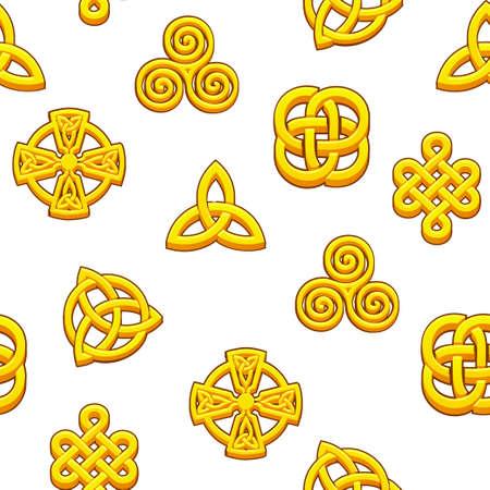 Seamless pattern Celtic symbols. Golden celtic icons on white background.