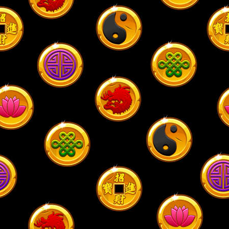 Chinese seamless pattern with traditional symbols coins. Black Background and icons on separate layers