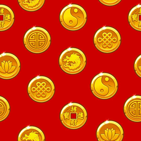 Chinese seamless pattern with traditional symbols coins. Background and icons on separate layers