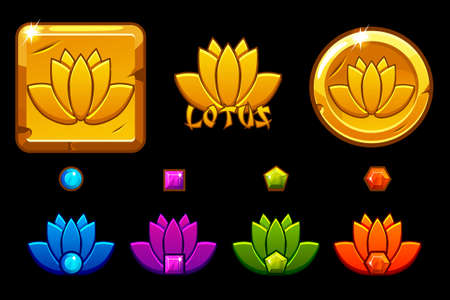 Lotus icon cartoon style, gold lotos on coin, different variation and colors.