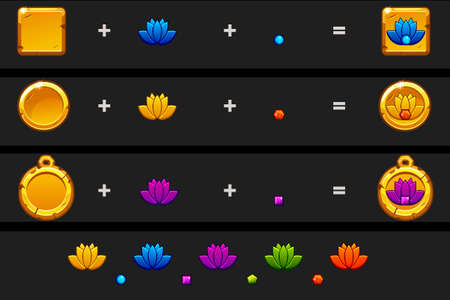 Create lotus icon cartoon style. Vector different variation and colors. Иллюстрация