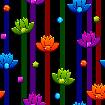 Seamless pattern Lotus. Vector icons and text LOTUS on black background. Background and icons on separate layers