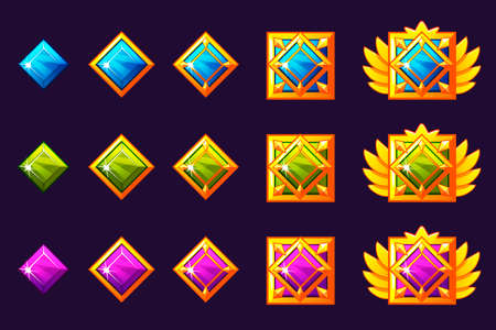 Gems award progress. Golden amulets set with squarejewelry. Vector icons assets for game design on separate layers Ilustração