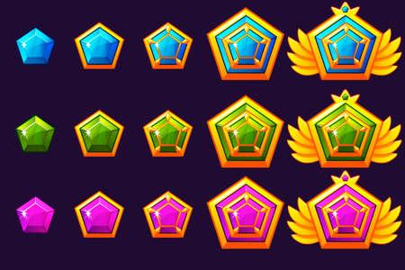 Gems award progress. Golden amulets set with jewelry. Vector icons assets for game design. Illusztráció