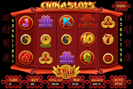 China Casino slot machine game and icons. Vector complete Interface Chinese Slot Machine and buttons. Chinese characters representing good luck and fortune
