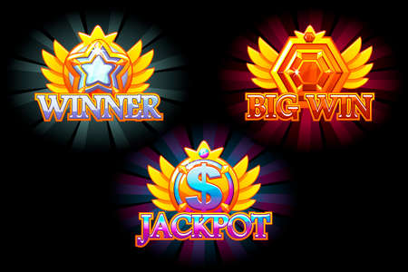 Casino icons. Winner, Jackpot and Big Win. Vector Colorful jewelry stones. Awards with gems. Game asset for casino and UI