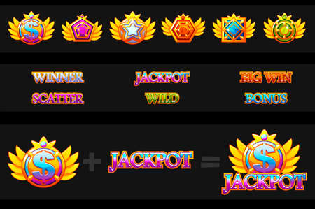 Creations slot machine and Game icons. Vector Colorful jewelry stones. Icons constructor. Game asset for casino and UI
