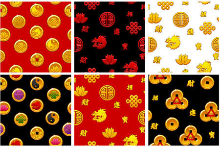 Set Chinese seamless pattern with traditional symbols on black background. Background and icons