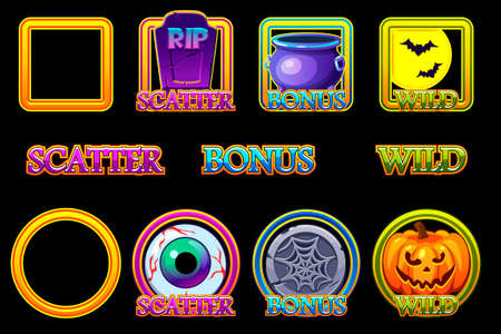 Halloween slots icons in frame. Wild, Bonus and Scatter icons for slots machine in Halloween style