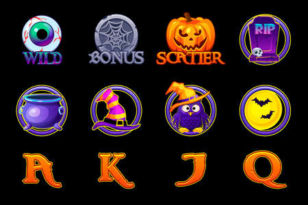 Halloween slots icons. Set icons for slots machine in Halloween style. Objects on a separate layer.