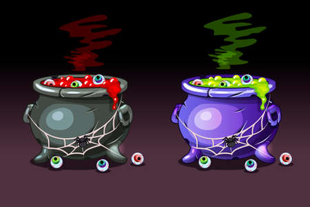 Magic potion with eyes. Vector Happy Halloween, Witches Cauldrons.