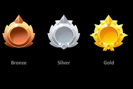 Awards medals gold, silver and bronze for Gui Game. Vector golden template award Standard-Bild - 129175138