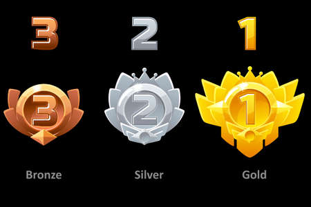 Awards medals gold, silver and bronze. Rewards 1st , 2nd and 3rd place for Gui Game. Vector template award 版權商用圖片 - 129402877