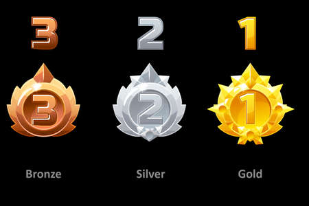 Awards medals gold, silver and bronze. Rewards 1st , 2nd and 3rd place for Gui Game. Vector template award 版權商用圖片 - 129402879