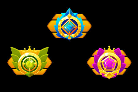 Awards medals for Gui Game. Vector golden template award with jewelry. 版權商用圖片 - 129402880