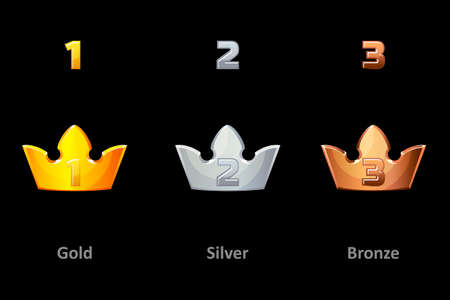 Awards crown icons. Collection gold, silver and bronze crown award for winners. Vector isolated elements for logo, label, game an app design. Royal king, queen, princess crown 版權商用圖片 - 131296500