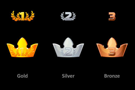 Awards crown icons. Collection gold, silver and bronze crown award for winners. Vector isolated elements for logo, label, game an app design. Royal king, queen, princess crown Banque d'images - 131296501