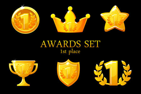 Collections Awards trophy. Golden awards icons set, 1st place winner badge, trophy cup prize, win rewards, success crown, vector illustration