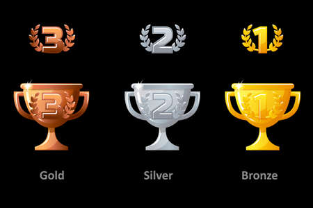 Trophy cup, award, vector icons. Collection gold, silver and bronze Trophy cup award for winners. Vector isolated elements for logo, label, game an app design. 版權商用圖片 - 131296504