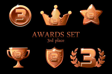 Collections Awards trophy. Bronze awards icons set, 3rd place winner badge, trophy cup prize, win rewards, success crown, vector illustration