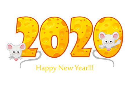 Happy New Year 2020, year of the rat. Textured text 2020 with cheese effect and cartoon rats. Isolated on white background. 版權商用圖片 - 131296510