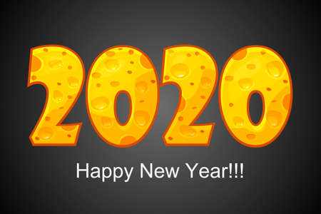 Happy New Year 2020. Textured text 2020 with cheese effect. Isolated on black background. 版權商用圖片 - 131296513