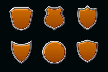 Vector medieval shields in different shape. Empty template shield.