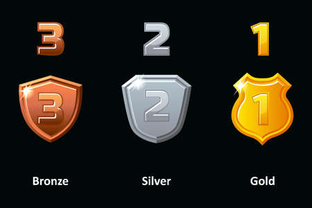 Set Silver, Gold and Bronze shield. Awards achievement Icons design. 向量圖像