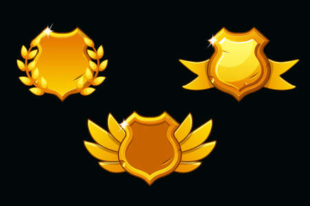 Vector medieval shields in gold color. Empty template shield. Award shield with wings, ribbon and laurel wreath Ilustração