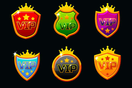 Vector Shields with VIP Logo. Awards achievement Icons design. Isolated elements for logo, label, game an app design. Objects on separate layers.