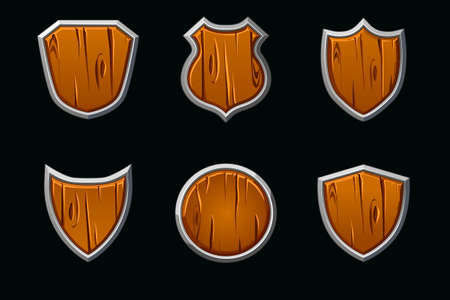 Vector wooden shields in different shape. Empty template medieval shield.