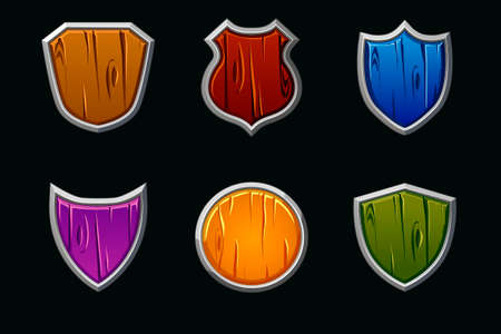 Vector wooden shields in different shape and colors. Empty template medieval shield.