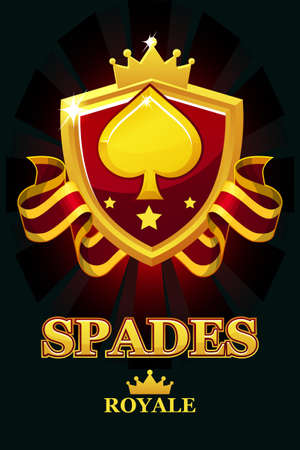 SPADES Royale in red shield. Casino banner with award ribbon and crown. 版權商用圖片 - 131297365