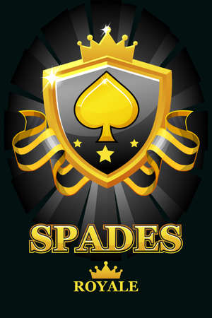 SPADES Royale in black shield. Casino banner with award ribbon and crown.