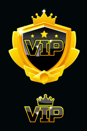 Black shield with golden frame isolated and VIP Logo. Vector luxury design element.
