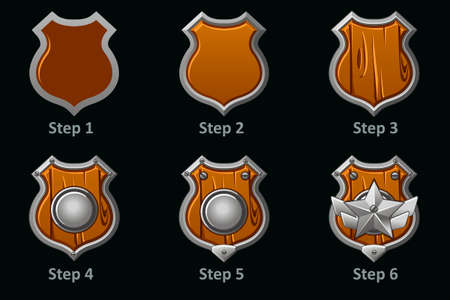 Shield icons. Step-by-step drawing of wooden military protective shield