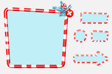 Christmas user interface and elements for game or web design Buttons, boards and frame. 向量圖像