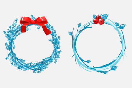 Christmas wreaths of pine branches, decorated with a red ribbon and berries. Vector cartoon illustration 向量圖像