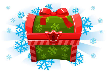 Christmas holiday chest in cartoon style. Icon for the 2D game.