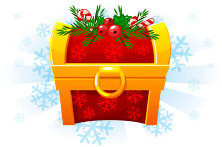 Christmas chest in cartoon style. Festive Chest. Icon for the 2D game. Snow background on a separate layer 版權商用圖片 - 132469688