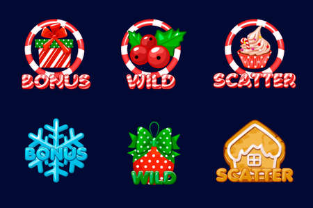 Christmas icons for slots. Bonus, Scatter and wild text. Vector set New Years icons on a separate layer. Assets 2D game 向量圖像